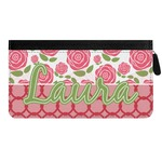Roses Genuine Leather Ladies Zippered Wallet (Personalized)