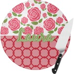 Roses Round Glass Cutting Board (Personalized)