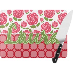 Roses Rectangular Glass Cutting Board (Personalized)