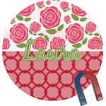 Roses Round Fridge Magnet (Personalized)