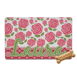 Roses Pet Bowl Mat (Personalized)