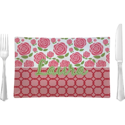 Roses Rectangular Glass Lunch / Dinner Plate - Single or Set (Personalized)