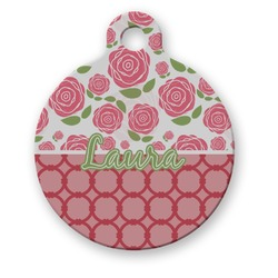 Roses Round Pet Tag (Personalized)