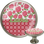 Roses Cabinet Knob (Silver) (Personalized)