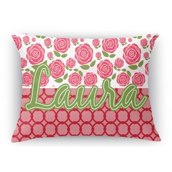 Roses Rectangular Throw Pillow Case (Personalized)