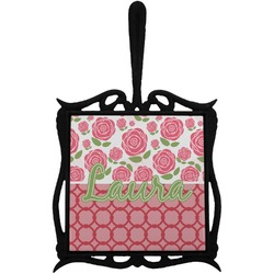 Roses Trivet with Handle (Personalized)