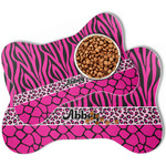 Triple Animal Print Bone Shaped Dog Food Mat (Personalized)