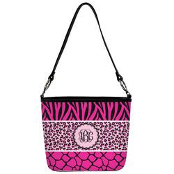Triple Animal Print Bucket Bag w/ Genuine Leather Trim (Personalized)