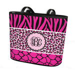 Triple Animal Print Bucket Tote w/ Genuine Leather Trim (Personalized)