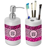 Triple Animal Print Bathroom Accessories Set (Ceramic) (Personalized)