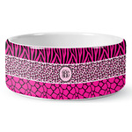 Triple Animal Print Ceramic Dog Bowl (Personalized)