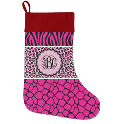 Triple Animal Print Holiday / Christmas Stocking (Personalized)