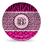 Triple Animal Print Microwave Safe Plastic Plate - Composite Polymer (Personalized)