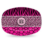 Triple Animal Print Plastic Platter - Microwave & Oven Safe Composite Polymer (Personalized)