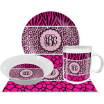 Triple Animal Print Dinner Set - 4 Pc (Personalized)
