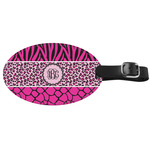 Triple Animal Print Genuine Leather Oval Luggage Tag (Personalized)