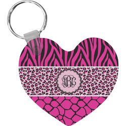 Triple Animal Print Heart Keychain (Personalized)