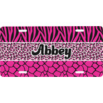 Triple Animal Print Front License Plate (Personalized)