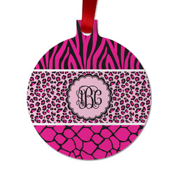 Triple Animal Print Metal Ornaments - Double Sided w/ Monogram