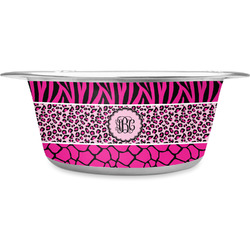 Triple Animal Print Stainless Steel Pet Bowl (Personalized)