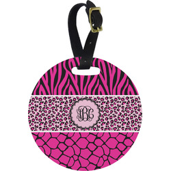 Triple Animal Print Round Luggage Tag (Personalized)