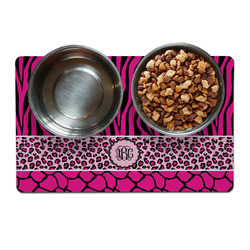 Triple Animal Print Pet Bowl Mat (Personalized)