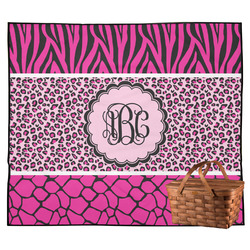 Triple Animal Print Outdoor Picnic Blanket (Personalized)