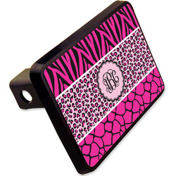 """Triple Animal Print Rectangular Trailer Hitch Cover - 2"""" (Personalized)"""