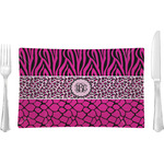 Triple Animal Print Glass Rectangular Lunch / Dinner Plate - Single or Set (Personalized)