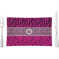 Triple Animal Print Rectangular Dinner Plate (Personalized)