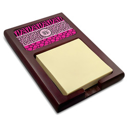 Triple Animal Print Red Mahogany Sticky Note Holder (Personalized)