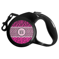 Triple Animal Print Retractable Dog Leash - Multiple Sizes (Personalized)