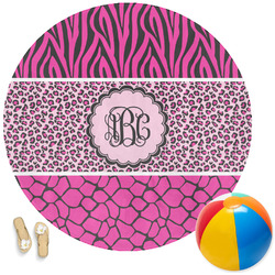 Triple Animal Print Round Beach Towel (Personalized)