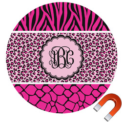 Triple Animal Print Round Car Magnet (Personalized)