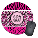 Triple Animal Print Round Mouse Pad (Personalized)
