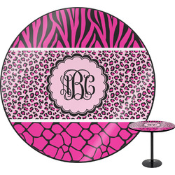 """Triple Animal Print Round Table - 24"""" (Personalized)"""