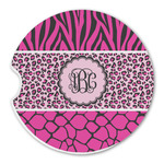Triple Animal Print Sandstone Car Coasters (Personalized)