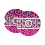 Triple Animal Print Sandstone Car Coasters (Personalized)