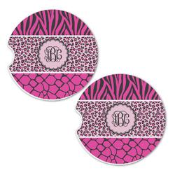 Triple Animal Print Sandstone Car Coasters - Set of 2 (Personalized)