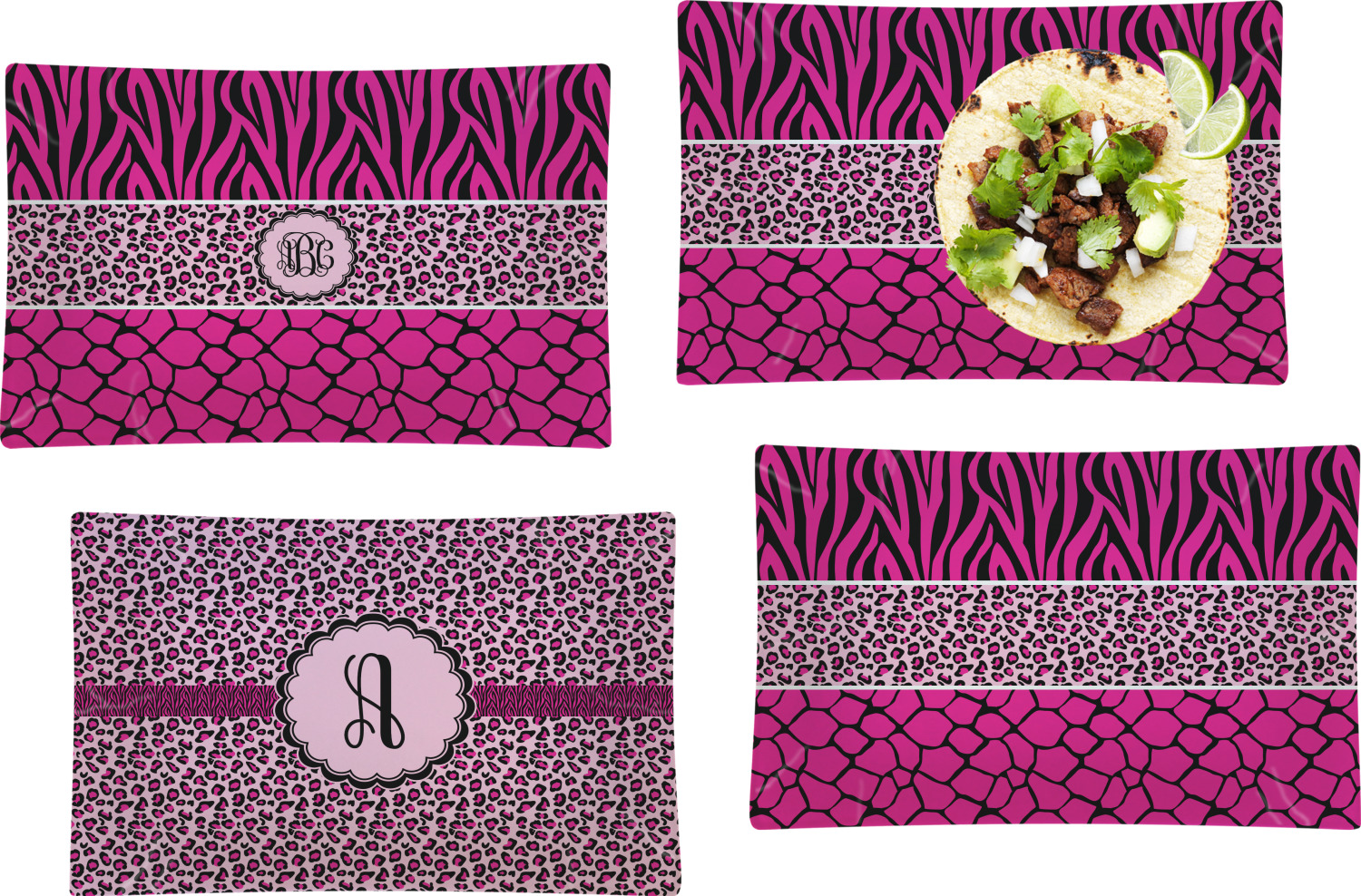 Triple Animal Print Set Of 4 Gl Rectangular Lunch Dinner Plate Personalized