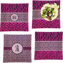 Triple Animal Print Set of 4 - Square Dinner Plates (Personalized)