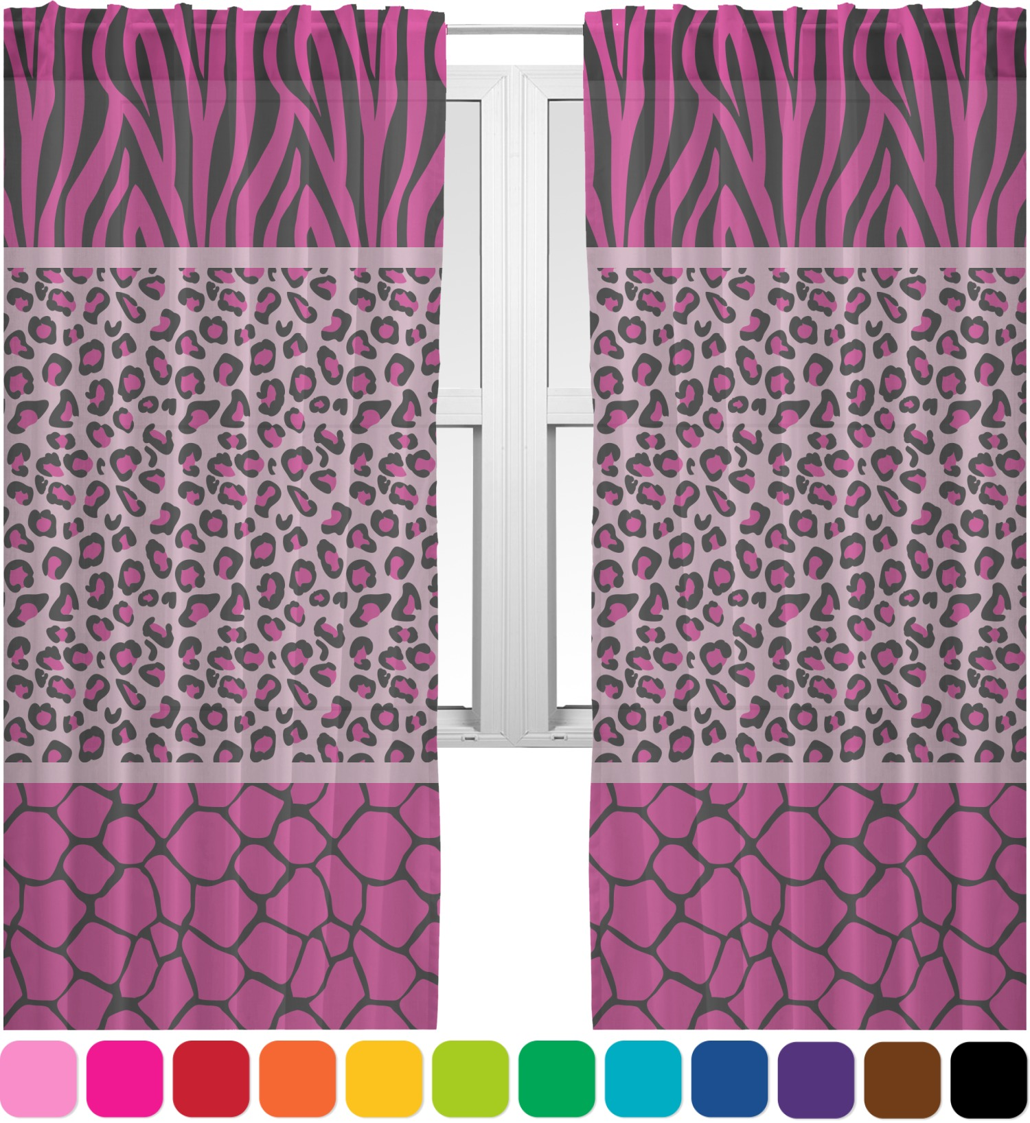 Purple cheetah print curtains - Triple Animal Print Sheer Curtains Personalized Rnk S