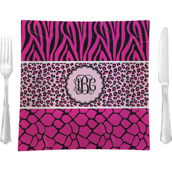 "Triple Animal Print Glass Square Lunch / Dinner Plate 9.5"" - Single or Set of 4 (Personalized)"