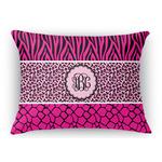Triple Animal Print Rectangular Throw Pillow Case (Personalized)
