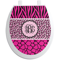 Triple Animal Print Toilet Seat Decal - Round (Personalized)
