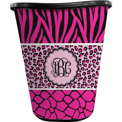 Triple Animal Print Waste Basket - Double Sided (Black) (Personalized)