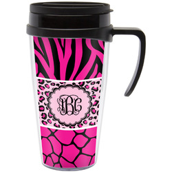 Triple Animal Print Travel Mug with Handle (Personalized)
