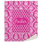 Moroccan & Damask Sherpa Throw Blanket (Personalized)