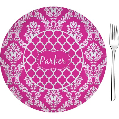 """Moroccan & Damask 8"""" Glass Appetizer / Dessert Plates - Single or Set (Personalized)"""