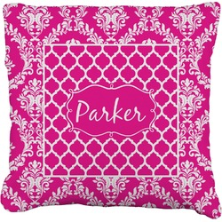Moroccan & Damask Faux-Linen Throw Pillow (Personalized)